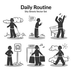 Daily routine activities set vector