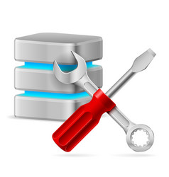 Database icon with tools on white vector