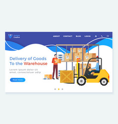 Delivery goods from warehouse website template vector