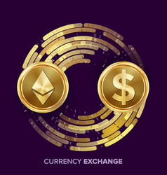Digital currency money exchange ethereum vector