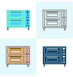 Double deck pizza oven icon set in flat and line vector