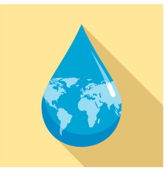 Earth water drop icon flat style vector