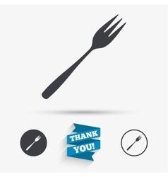 Eat sign icon Diagonal dessert fork vector
