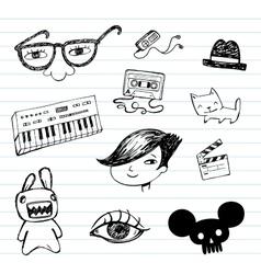 Emo doodle set vector image