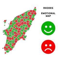 Emotional greek rhodes island map collage vector