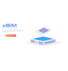 esim card chip sign embedded sim concept vector image