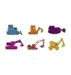 Excavator icon set color outline style vector