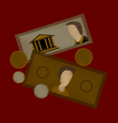 Flat shading style icon banknotes and coins vector