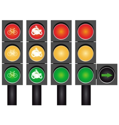 Four road traffic lights vector image