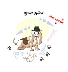 Funny basset hound sketch vector