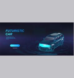 Futuristic jeep 3d model hologram crossover vector