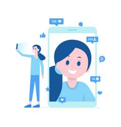 girl taking selfie video call many likes vector image