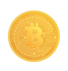 golden bitcoin coin crypto currency realistic vector image