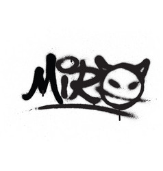 Graffiti tag miro sprayed with leak in black vector