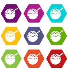 hanami dango icons set 9 vector image
