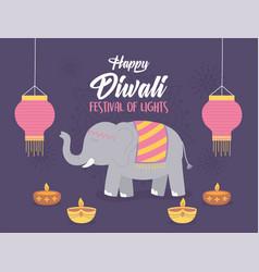 happy diwali festival elephant lanterns and diya vector image