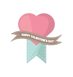 happy valentines day card big pink heart banner vector image