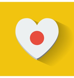 heart-shaped icon with flag japan vector image