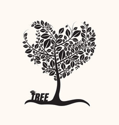 heart shaped tree with leaves isolated on light vector image