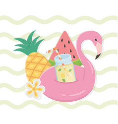 hello summer poster with flemish float icons vector image