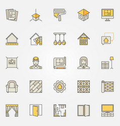 home interior design colorful icons vector image
