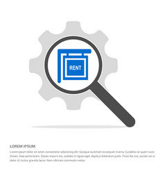 house for rent icon search glass with gear symbol vector image