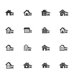 House type icons set vector