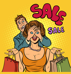Husband and wife on sale shopping vector