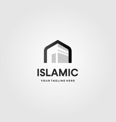 Islamic kaaba logo icon design vector