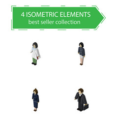 Isometric human set of doctor girl investor and vector
