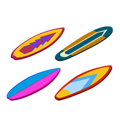 Isometric set stand up paddle surfing isolated vector