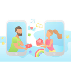 Love in messenger young happy couple concept vector