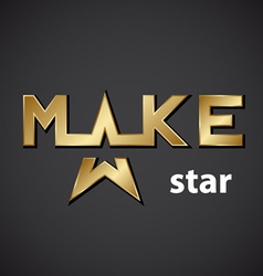 make golden star inscription icon vector image
