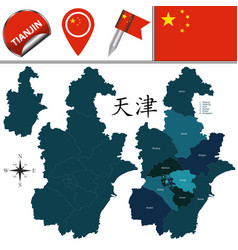 Map of tianjin with divisions vector