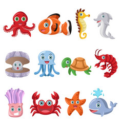marine animal icons vector image