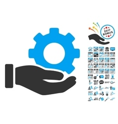 Mechanic Gear Service Hand Icon With 2017 Year vector