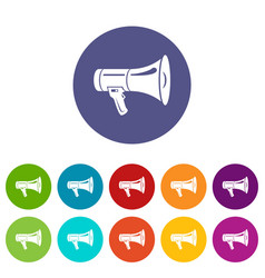 megaphone icons set color vector image
