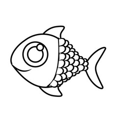 Monochrome silhouette of fish with big eye vector