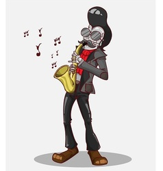 Monster in halloween night skeleton play saxophone vector