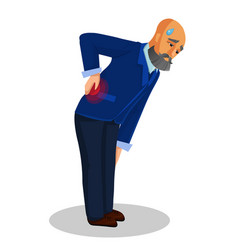 Old man suffering from back pain flat vector