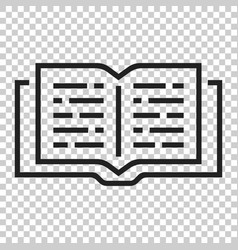 open book icon in flat style text book on vector image