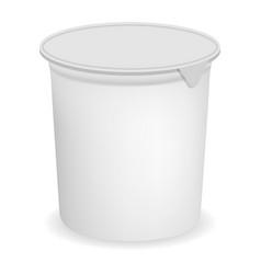 Open round yogurt mockup realistic style vector