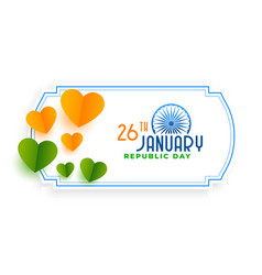 orange and green hearts for indian republic day vector image