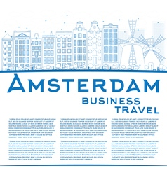 Outline Amsterdam city skyline with blue buildings vector image