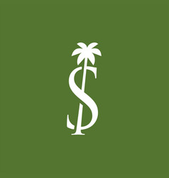 palm tree s letter mark logo icon vector image
