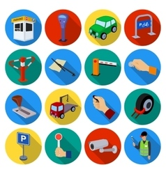 Parking zone set icons in flat style Big vector