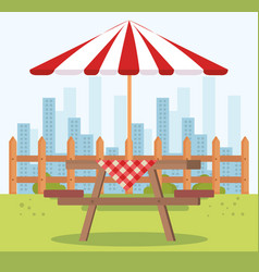 Picnic table with umbrella outdoor scene vector