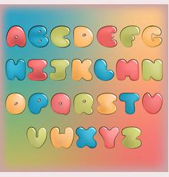 Plump handwritten alphabet colorful set vector