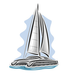 sailing catamaran vector image