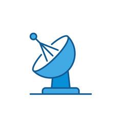 Satellite antenna dish concept blue icon vector